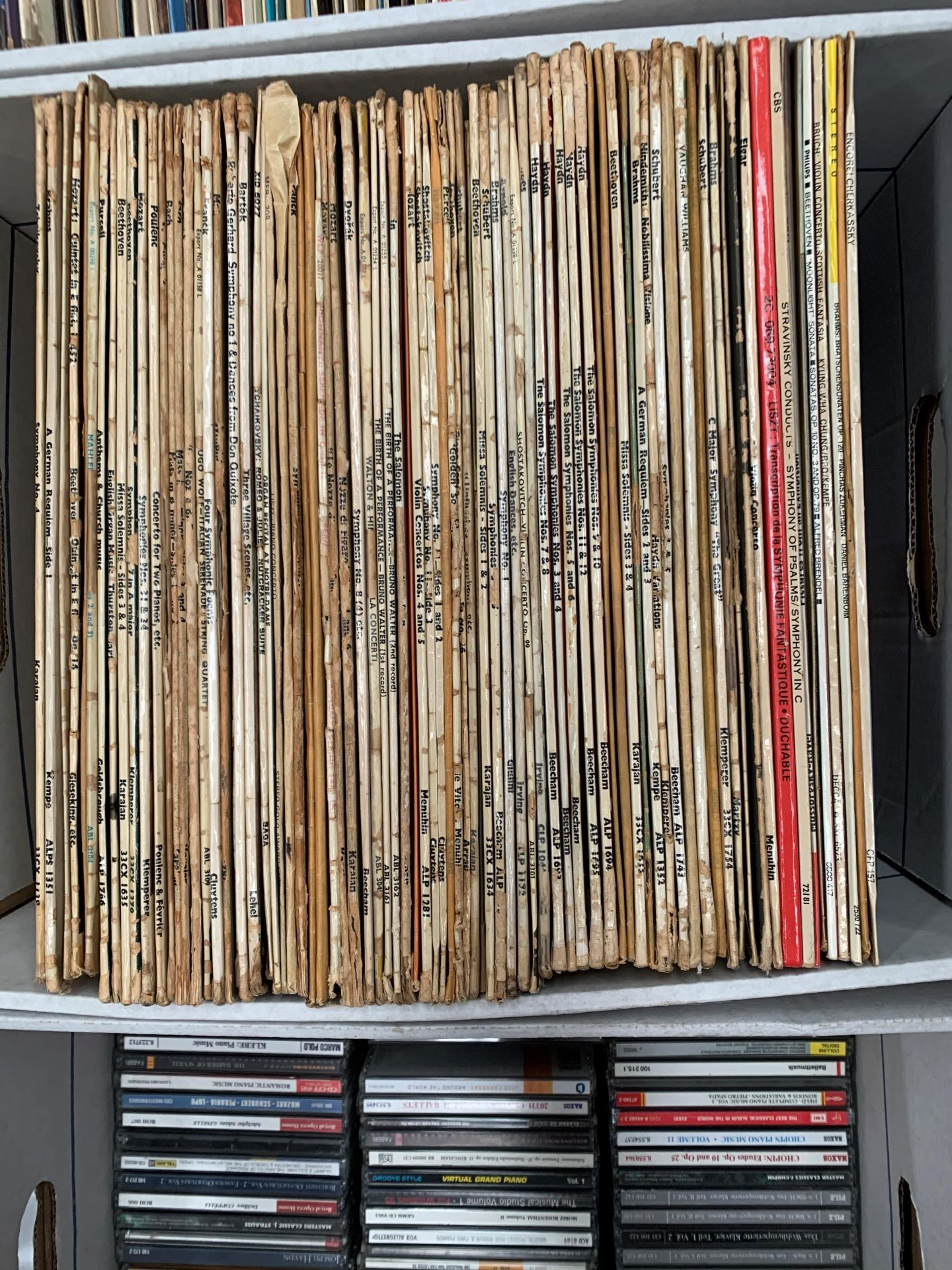 Lot 361 - Contents to box, approximately 80 mainly classical LPs, Mozart, Purcell, Haydn, Schubert, etc.
