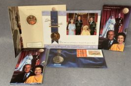Four items, a Royal Mint £5 coin and stamp set to commemorate The Prince Of Wales 50th Birthday,