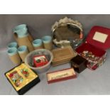 Contents to polystyrene box, pottery jug and five mugs,