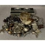 Contents to box, assorted costume jewellery, necklaces, bracelets, ladies wristwatches,