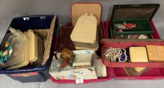 Contents to three trays - a large quantity of costume jewellery, brooches, earrings, necklaces,