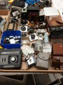 Contents to tray - Brownie Flash III camera, Kodak Starmite camera, Hauck TU20 enlarger timer,
