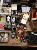 Contents to tray - Ilford Exposure monitors, Envoy printing frames, Essex 35mm developing tank,