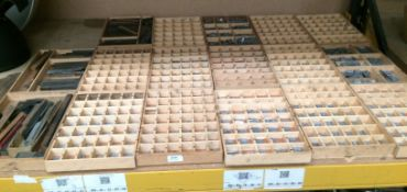 Contents to 17 trays - large quantity of metal type face for Adana printing machine