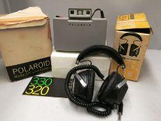 2 x items - Polaroid 320 land camera and Audiotronic LSH 30 headphones
