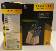 2 x Richardson Sheffield Sabatier Trompette stainless steel 12 piece knife block set RRP £312.