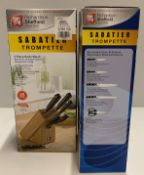 2 x Richardson Sheffield Sabatier Trompette stainless steel 5 piece knife block set RRP £79.