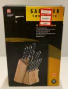 A Richardson Sheffield Sabatier Trompette stainless steel 12 piece knife block set RRP £312.