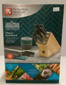 A Richardson Sheffield 'V' Sabatier X50 CrMoV 15 stainless steel 9 piece knife block set RRP £180.