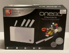 A Richardson Sheffield ONE80 5 piece stainless steel knife block set RRP £185.