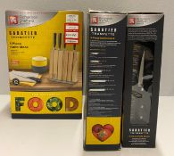 3 x Richardson Sheffield Sabatier Trompette stainless steel 5 piece knife block set RRP £96.