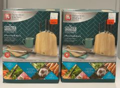 2 x Richardson Sheffield 'V' Sabatier X50 CrMoV 15 stainless steel 5 piece knife block sets RRP
