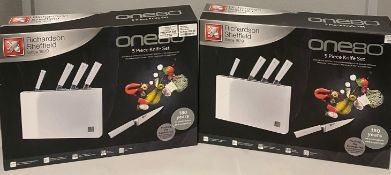 2 x Richardson Sheffield ONE80 5 piece stainless steel knife block sets RRP £185.
