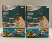 2 x Richardson Sheffield 'V' Sabatier X50 CrMoV 15 stainless steel 9 piece knife block sets RRP