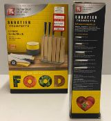 2 x Richardson Sheffield Sabatier Trompette stainless steel 5 piece knife block set RRP £96.