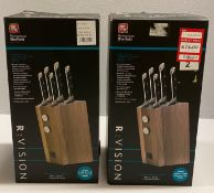 2 x Richardson Sheffield R:VISION 5 piece stainless steel knife block sets RRP £152.