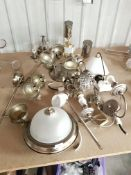 APPROX 13 X MIXED BRASS EFFECT CEILING /