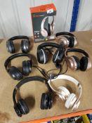 8 X MIXED BLACKWEB HEADPHONES