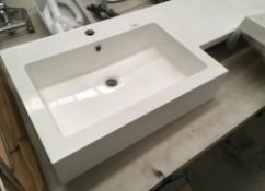 1500 x 450 polymarble sink and work surface