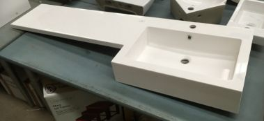1500 x 450 right hand polymarble sink and work surface