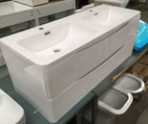 1200 x 450 his and hers wall hung vanity unit,