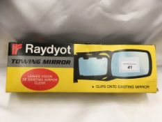 Raydyot trailer caravan mirror clips onto existing mirror either hand.