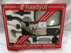 Raydyot trailer caravan mirror, instant clutch operated, safety fold back feature, drivers side.