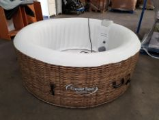 'CLEVERSPA BORNEO HOT TUB. INFLATES, POWERS UP AND PUMP CAN BE HEARD RUNNING.
