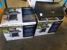 2 X UNIFLAME 4 BURNER GAS BBQ GRILLS.