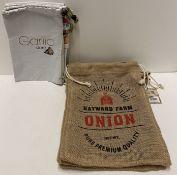 5 x assorted Garlic and onion storage ba