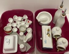 40 x assorted pottery items, salt shaker