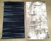 A Tapiso Rasta dark blue rug - 80cm x 150 and a Inspiration 8025 grey rug - 80cm x 150cm