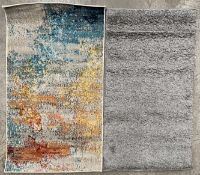 A Retro shaggy grey rug - 60cm x 110cm and a Nourison Celestial Collection Sealife rug - 66cm x
