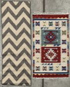 A Moda Chevron grey runner 60cm x 180cm and a multicoloured rug - 75cm x 125cm