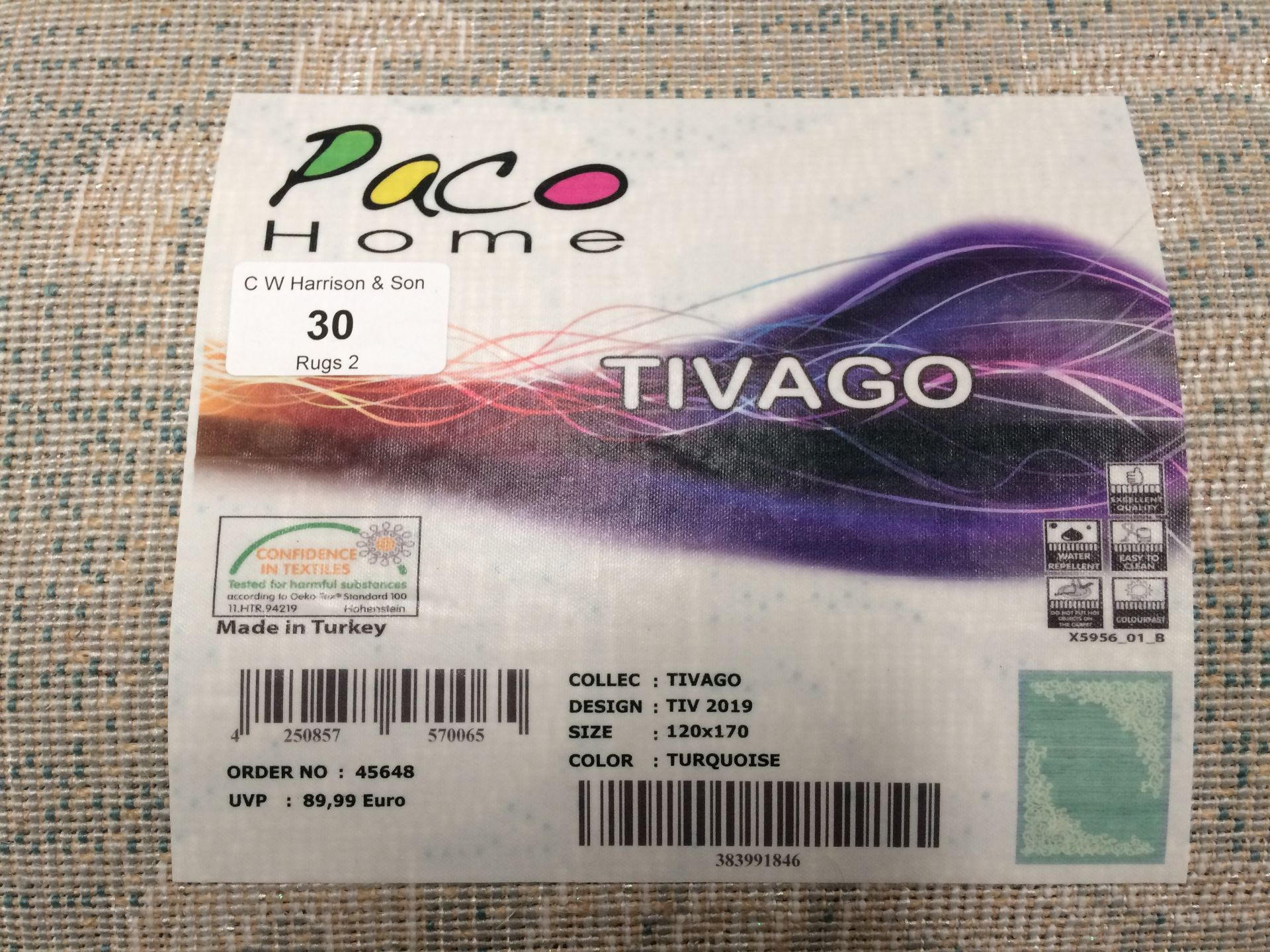 Lot 30 - A Paco Home Tivago TIV2019 turquoise rug - 120cm x 170cm