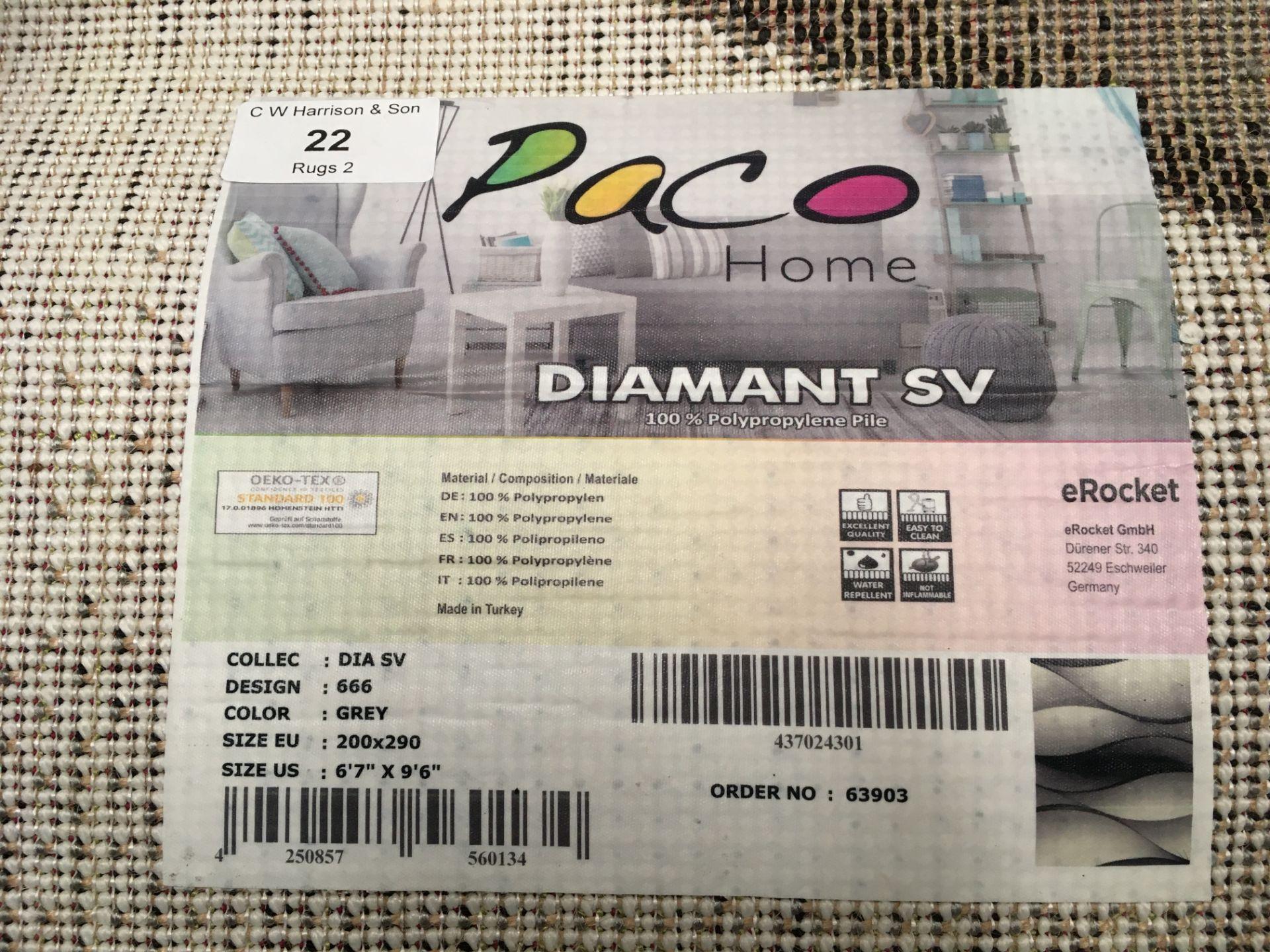 Lot 22 - A Paco Home Diamant SV 666 grey rug - 200cm x 290cm