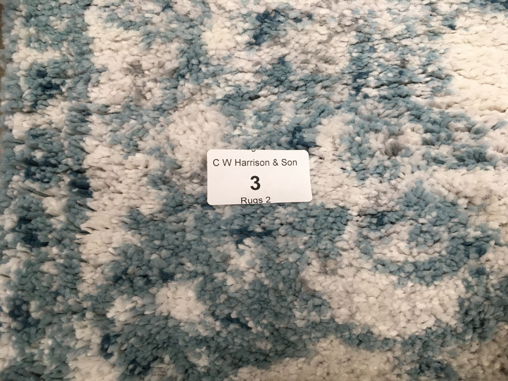 Lot 3 - A white and light blue patterned rug - 170cm x 120cm
