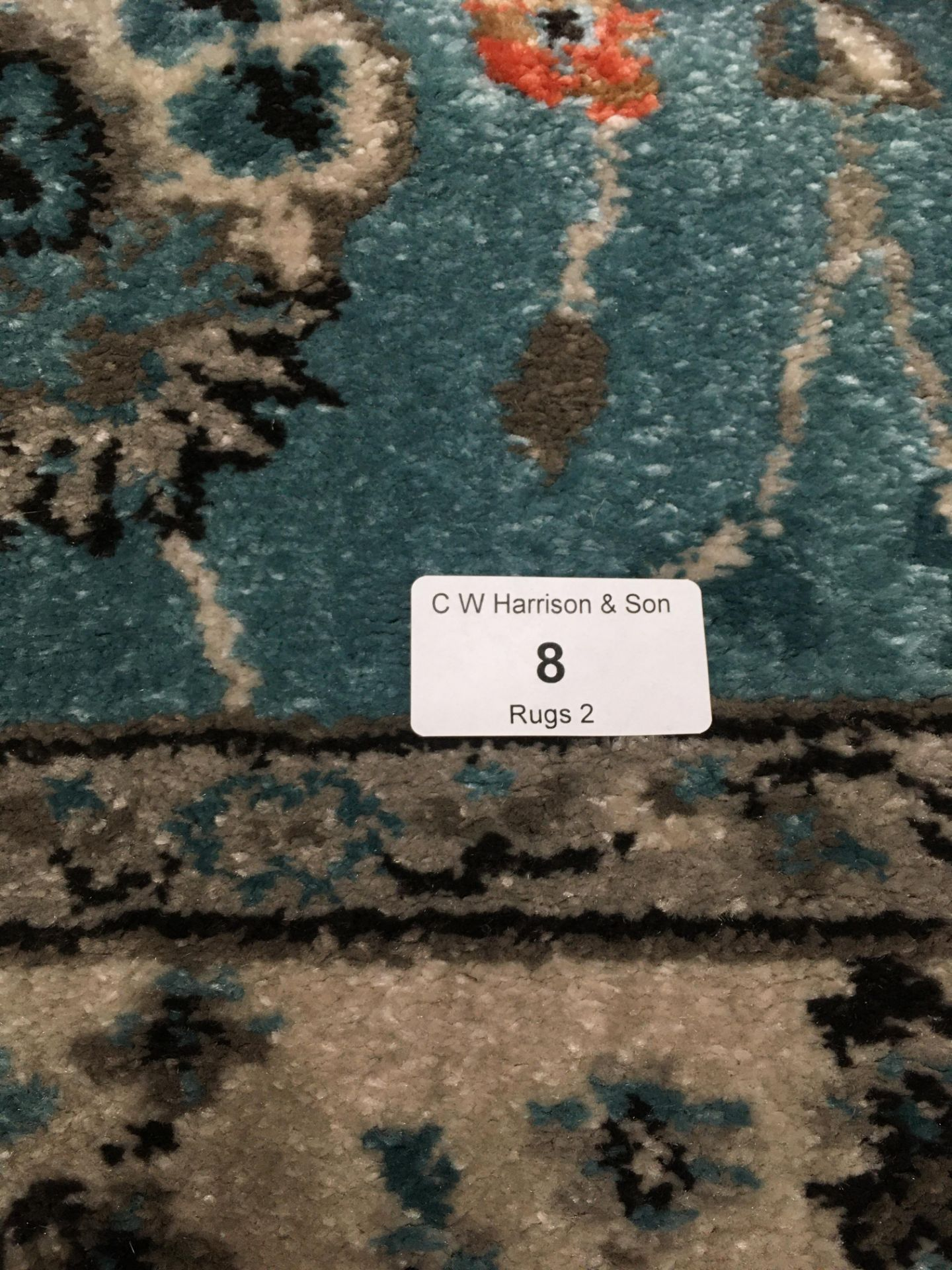 Lot 8 - An Oriental style rug in light blue,