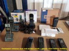 8 ITEMS – 1 X BT2000 TWIN DIGITAL CORDLESS PHONE, 1 X BT EVERYDAY PHONE,