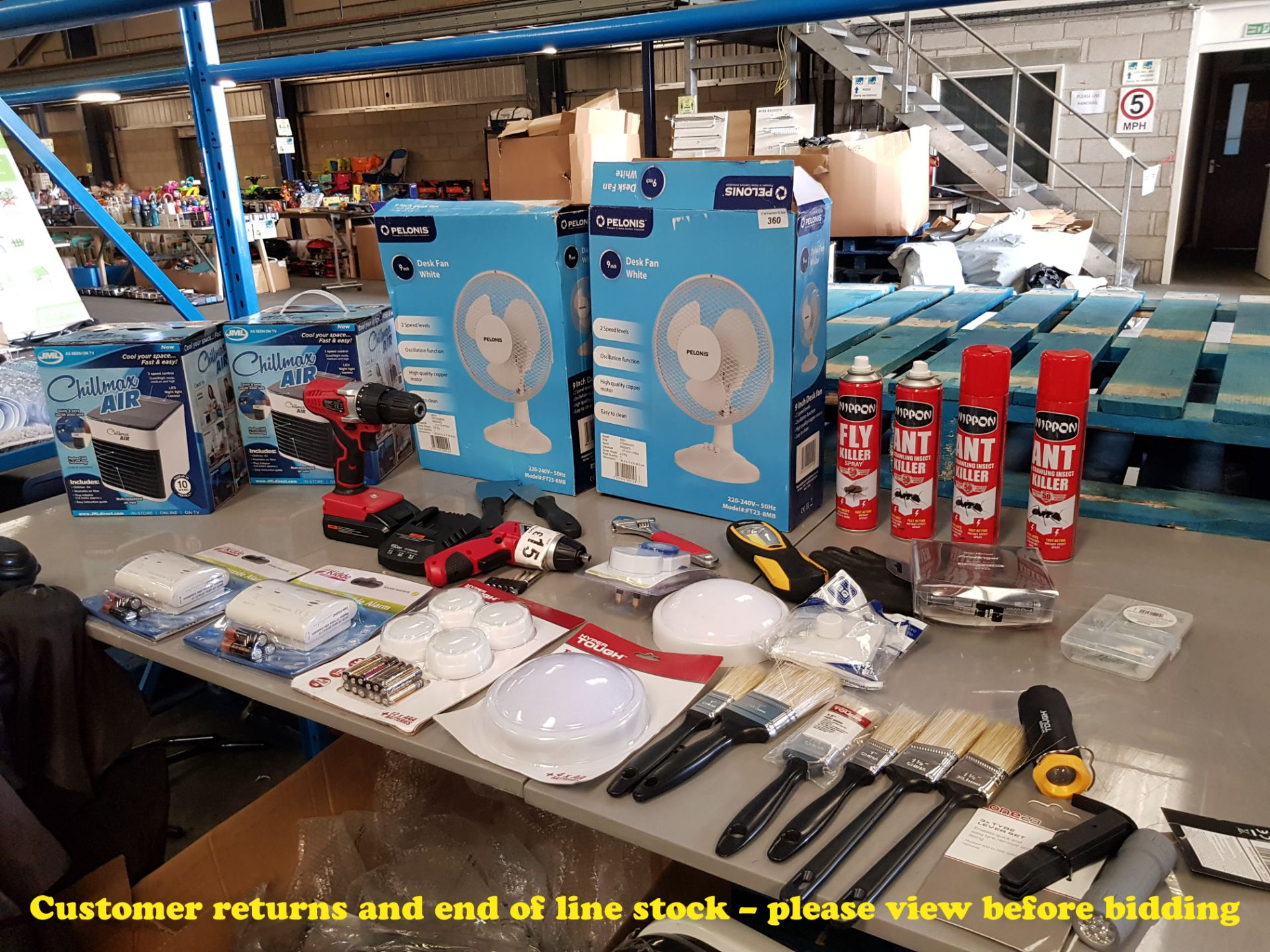 Lot 360 - QTY OF TOOLS, DIY, ANT KILLER, FANS, CARBON MONOXIDE TESTERS,