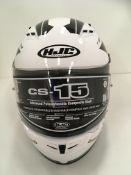 Withdrawn - Late ROT claim HJC CS-15 motorbike helmet in black/white - size S (56cm)