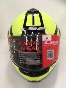 LS2 Strobe 325 motorbike helmet with flip up chin guard in yellow/black - size XXL (63-64cm)