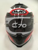 Withdrawn - Late ROT claim HJC C70 motorbike helmet in red/white/grey - size S (56cm)