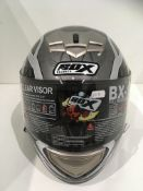 Box BX-1 motorbike helmet in silver/grey web - size XL (62cm)