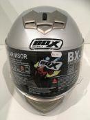 Box BX-1 motorbike helmet in silver - size XL (62cm)