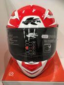 Kappa KV41 motorbike helmet in red/white/blue - size M (58cm)