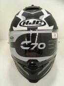 Withdrawn - Late ROT claim HJC C70 motorbike helmet in black/white/grey - size S (56cm)