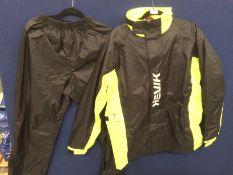 2 piece waterproof suit by Hevik in black/yellow - size M