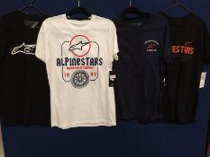 4 x assorted Alpinestars t-shirts - size M RRP £19/£29 each
