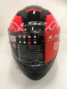 LS Stream Evo motorbike helmet in red/white - size XXL (63-64cm)